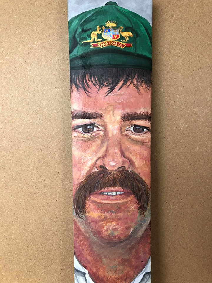 David Boon Portrait on a Cricket Bat
